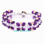 New Natural Amethyst / Clear Rock Crystal Quartz & Fresh Water Pearl Fashion Design Bracelet Gift, Size M