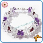 New Natural Water Drop Shaped Clear Rock Quartz / Amethyst Crystal & Garnet Stone Fashion Design Bracelet, Love Gift, Size S