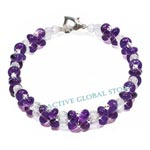 New Natural Amethyst / Cut Facet Clear Rock Crystal Quartz Stone & 925 Silver (RH) Bead Fashion Design Bracelet Love Gift, Size M