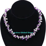 New Water Drop Shaped Natural Amethyst & Moonstone & Clear Rock Crystal Quartz Fashion Design Necklace, Love Gift