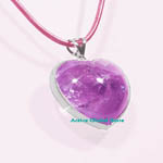 New Heart Shaped Natural Amethyst Crystal Quartz Stone / Silver Sterling Frame Pendant & Leather Rope Necklace, Love Gift