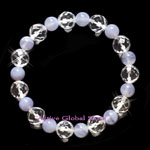 New Natural Blue Lace Agate & Cut Facet Clear Rock Crystal Quartz Stone Design Bracelet Love Gift, Size M