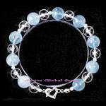 New Natural Aquamarine Stone & Natural Clear Rock Crystal Quartz Design Bracelet Love Gift