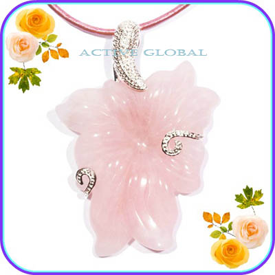 Natural Rose Crystal Pendant
