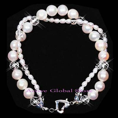 New Natural Fresh Water Pearl & Clear Rock Crystal Quartz Stone Fashion Design Bracelet, Love Gift