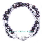 New Dyed Color Natural Fresh Water Pearl & Natural Clear Rock Crystal Quartz  Stone Fashion Design Bracelet, Love Gift