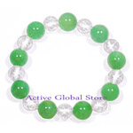 New Natural Green Aventurine & Cut Facet Clear Rock Crystal Quartz Stone Design Bracelet Love Gift, Size M