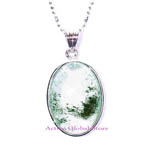 "Sold Out Natural Green Phantom Crystal Quartz Pendant & 18""L 925 Sterling Silver (RH) Necklace Gift-Spirit Healing & Match Fashion/Leisure Garments"