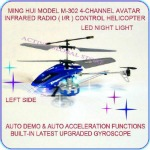 Sold Out Ming Hui M-302 4-Channel Infrared Remote Control Avatar Helicopter Toy Gyro LED Night Light - Navy Blue