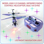 Sold Out Model King 3.5 Channel Infrared Radio Remote Control Helicopter Toy-Gyro LED Light-Purple Blue