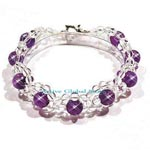 New Natural Cut Facet Amethyst & Clear Rock Crystal Quartz Stone Design Bracelet Love Gift, Size S