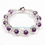 New Natural Cut Facet Amethyst & Clear Rock Crystal Quartz Stone Design Bracelet Love Gift, Size M