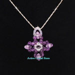 New Natural Amethyst & Clear Crystal Quartz Stone Fashion Design Cross Shaped Pendant & 925 Sterling Silver Necklace, Love Gift