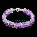 New Natural Amethyst Crystal Quartz Stone & Fresh Water Pearl & 925 Sterling Silver Bead Design Bracelet, Love Gift, Size M