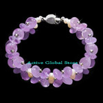 New Natural Amethyst Crystal Quartz Stone & Fresh Water Pearl & 925 Sterling Silver Bead Design Bracelet, Love Gift, Size S