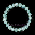 New 8.5mm Natural Aquamarine Stone Elastic Bracelet, Love Gift