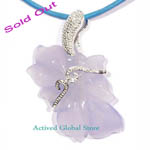 Sold Out Natural Blue Chalcedony Crystal Quartz Engraved Pendant & Leather Rope Necklace Gift