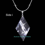 "New Cut Facet Natural Clear Rock Crystal Quartz Stone  in Diamond Shape Pendant & 16""L 925 Sterling Silver Necklace, Love Gift"