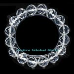 New 12mm Cut Facet Natural Clear Rock Crystal Quartz Stone Elastic Bracelet Love Gift, Size M