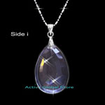 "New Cut Facet Natural Clear Rock Crystal Quartz Stone Pendant & 18""L 925 Sterling Silver (RH) Necklace, Love Gift"