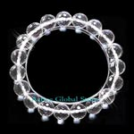 New Cut Facet 10mm Natural Clear Rock Crystal Quartz Stone Elastic Bracelet Love Gift