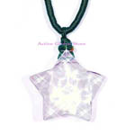 New Cut Facet Natural Clear Rock Crystal Quartz Stone Star Shaped Pendant  &  Green Rope Necklace, Love Gift