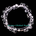 New Water Drop Shaped Clear Rock Crystal Quartz Stone Bracelet, Love Gift