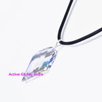 Cut Facet Natural Clear Rock Crystal & Sterling Silver Pendant  &  Black Rope Necklace Gift