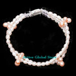New Natural Fresh Water Pearl & Clear Rock Crystal Quartz Stone Fashion Design Bracelet, Love Gift, Size L