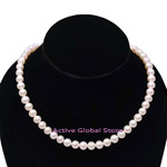 New 7-8 mm Natural Fresh Water Cultured Pearl 925 Sterling Silver (RH) Clasp Necklace, Love Gift