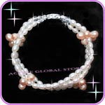 New Natural Fresh Water Pearl & Clear Rock Crystal Quartz Stone Fashion Design Bracelet, Love Gift, Size S