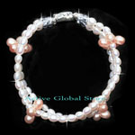 New Natural Fresh Water Pearl & Clear Rock Crystal Quartz Fashion Design Bracelet, Love Gift, Size M