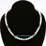 New 6-7 mm Natural Fresh Water Pearl Cream Color & Cut Facet Natural Clear Crystal Quartz Fashion Design Necklace, Love Gift