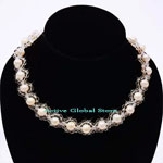 New 7-8mm Natural Fresh Water in Cream Color & Natural Clear Crystal Quartz Fashion Design Necklace, Love Gift