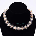 New 8-9mm Natural Fresh Water Pearl in Orange Color & Natural Clear Crystal Quartz Fashion Design  Necklace, Love Gift