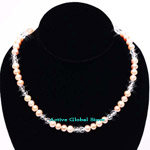 New 6-7mm Natural Fresh Water Pearl in Orange Color & Cut Facet Natural Clear Crystal Quartz Design Necklace, Love Gift