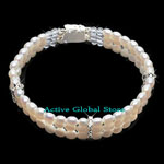 New Natural Fresh Water Pearl & Clear Rock Crystal Quartz Stone &  925 Sterling Silver Bead Fashion Design Bracelet, Love Gift, Size L