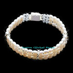 New Natural Fresh Water Pearl & Clear Rock Crystal Quartz Stone &  925 Sterling Silver Bead Fashion Design Bracelet, Love Gift, Size M