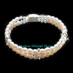 New Natural Fresh Water Pearl & Clear Rock Crystal Quartz Stone & 925 Sterling Silver Bead Fashion Design Bracelet, Love Gift, Size S