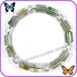 Sold Out Natural Green Phantom /Faceted Clear Rock Crystal Quartz Elastic Design Bracelet Gift - Match Fashion /Leisure Garments