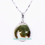 "New Natural Green Phantom Crystal Quartz Stone Pendant & 18""L 925 Sterling Silver (RH) Necklace, Love Gift"