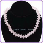 New Natural Iced Rose Crystal Quartz in 8 Flower Shaped Necklace, Love Gift