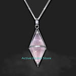 "New Diamond Shape Cut Facet Natural Iced Rose Crystal Quartz Silver Pendant & 20""L 925 Silver (RH) Necklace, Love Gift - Spirit Healing & Match Fashion / Leisure Garments"