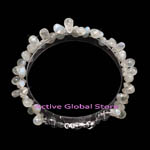New Water Drop Shaped Natural Moonstone & Clear Crystal Quartz Stone Design Bracelet, Love Gift