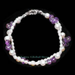 New Natural Fresh Water Pearl & Amethyst Crystal Quartz Stone in Water Drop Shape Fashion Design Bracelet, Love Gift