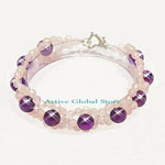New Cut Facet Natural Amethyst & Iced Rose Crystal Quartz Stone Design Bracelet, Love Gift, Size M