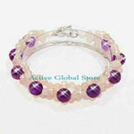 New Cut Facet Natural Amethyst & Iced Rose Crystal Quartz Stone Design Bracelet, Love Gift, Size S