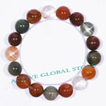 New 12.5mm Natural Rainbow Rutilated Crystal Quartz Stone Elastic Bracelet, Love Gift