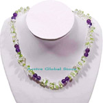 New Natural Peridot Stone & Clear Rock & Amethyst Crystal Quartz Fashion Design Necklace, Love Gift