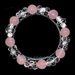 New Natural Rose Crystal & Clear Rock Quartz Stone in 8 Flower Shaped Elastic Design Bracelet, Love Gift